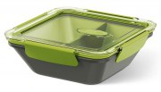 Emsa Bento Box quadratisch m. Einsätzen grau/grün 0,9L